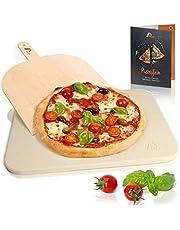 Amazy Pietra Refrattaria per Pizza da Forno, incl. PALA pizza e RICETTARIO–Pietra per Cottura Pizza dal sapore italiano (38x30x1,5cm)