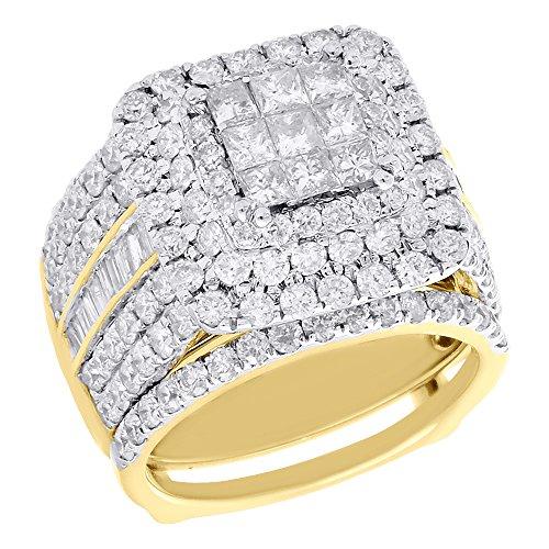 Cttw Bridal Enhancer - 14K Yellow Gold Round Princess Cut Diamond Triple Halo Engagement Ring + Enhancer Wrap Bridal Set 4 Cttw