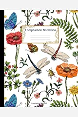 Composition Notebook: Wide Ruled Lined Paper Notebook Journal: Pretty Botanical of Provence style Workbook for Girls Kids Teens Students for Back to School and Home College Writing Notes Paperback