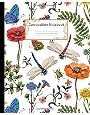 Composition Notebook: Wide Ruled Lined Paper Notebook Journal: Pretty Botanical of Provence style Workbook for Girls Kids Teens Students for Back to School and Home College Writing Notes