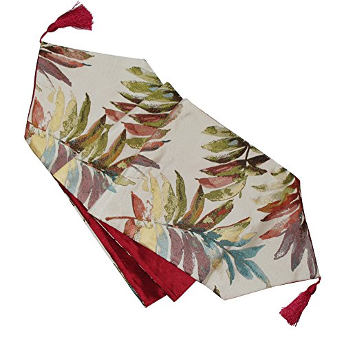 shuke Table Runner, Table Cloth,Table Flag Red Perfect for Christmas, Weddings,Dinner Parties or Everyday Use (Leaves red, 12.6x70.8)