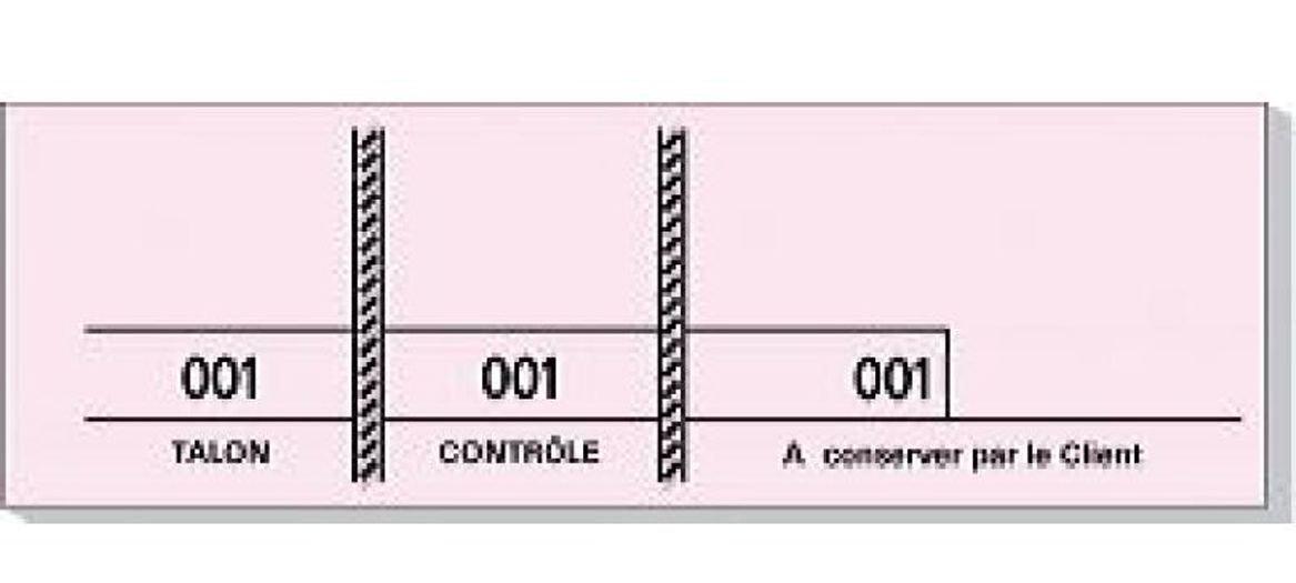 Mondial-fete - Carnet de 100 tickets roses numérotés 3 souches - 48 x 150 mm