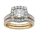 Princess-Cut White Cubic Zirconia 10k Yellow Gold Square Halo 2-Piece Bridal Ring Set