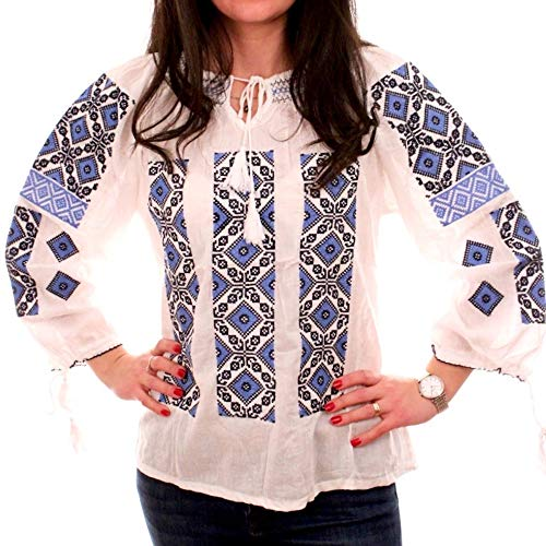 (Romanian Party Dress Traditional Romanian Ie Blouse Top Shirt Red (Medium) )