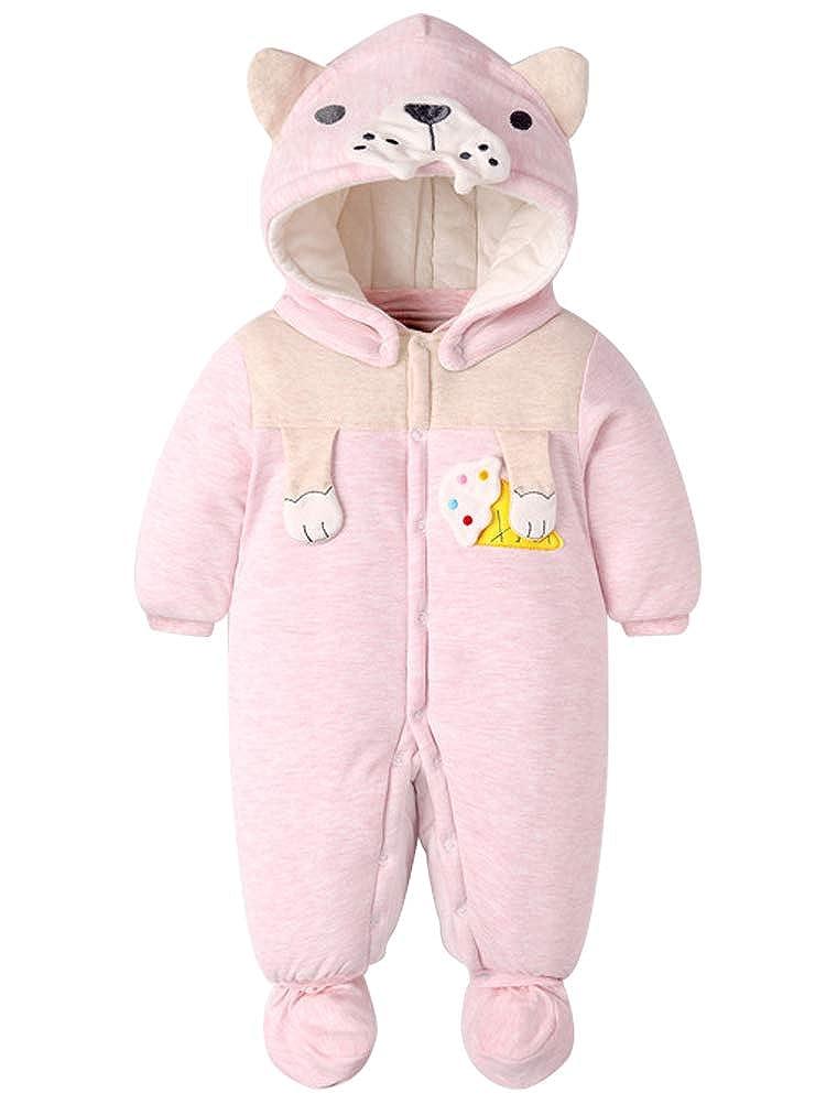 ARAUS Pagliaccetto Imbottito Con Cappuccio Da Bimbo Neonata Bambina Romper Baby Tute Imbottitura in Cotone 0-36 Mesi 0360P10