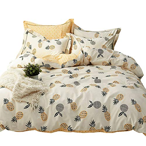 LAYENJOY 3 Piece Pineapple Tropical Fruit Kids Cotton Duvet Cover Set Full/Queen for Teens Boys Girls Cream White Reversible Yellow Bedding Collections 200 Thread Count Hypoallergenic Comforter Cover