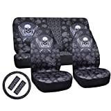 cool accessories for trucks - Car Seat Covers Universal full car seat cover protecter Four Seasons Comfortable 7pc Skull Design Truck, Suv, or Van (Black)