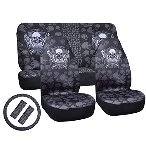 12PC Skull Universal Seat Covers For Cars Full Set 2 Detachable Headrests And Streering Wheel Cover Polyester Cloth Stylish Soft Comfortable