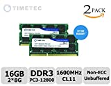 Timetec® (76TT16NUSL2R8-8G) 16GB KIT (2x8GB) Dual Rank 1600MHz DDR3 (PC3-12800) Non-ECC Unbuffered CL11 204-Pin SODIMM 2Rx8 512x8 1.35V Laptop PC Computer Memory Ram Module Upgrade 16GB KIT (2x8GB)