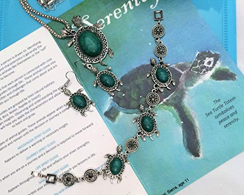 Smiling Wisdom - Sea Turtle Totem Spirit Animal Guide Gift Set - Greeting Card, Sea Turtle Necklace, Charm Bracelet, Earrings - Fashion Jewelry Green Turquoise - Teen, Woman - Limited - Animal Totem Turtle