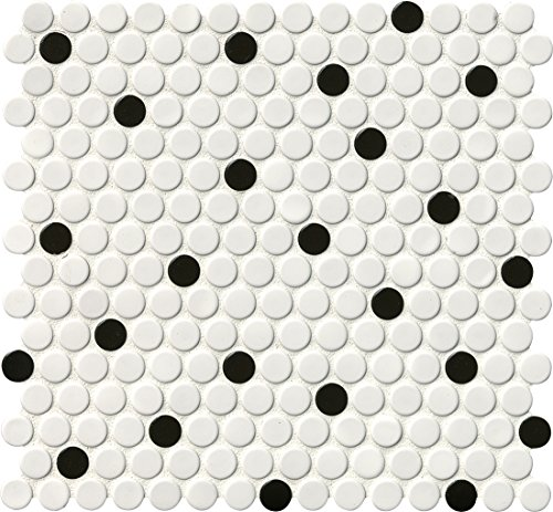 MS International AMZ-M-00249 White and Black Glossy Penny Round Mosaic Tile 12in x 10.74in