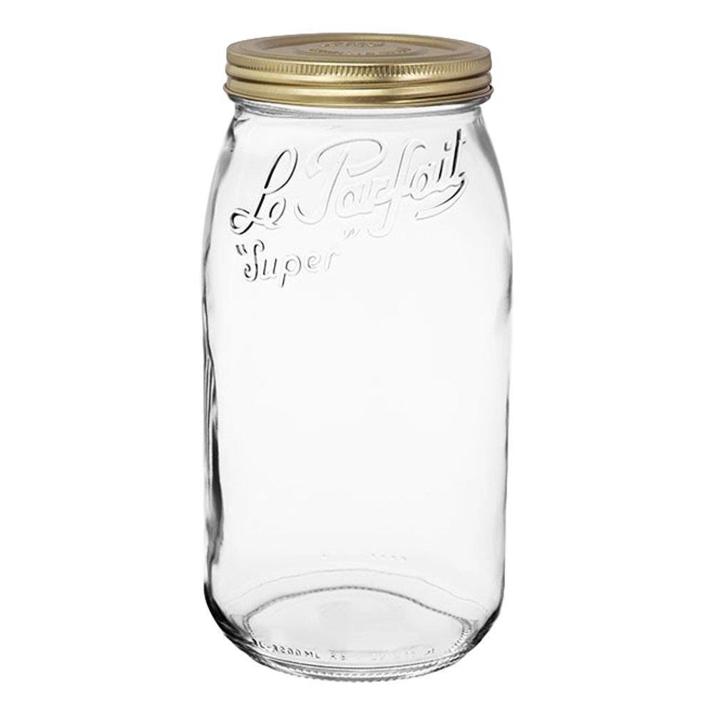3 Le Parfait Screw Top Jars - Wide Mouth French Glass Preserving Jars - Preserve, Store, Serve, Décor (3, 3000ml - 96oz - Gold Lid)