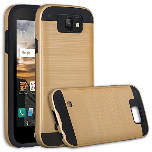 separation shoes fd279 a0a17 LG K3 Case, LG K3 Boost Mobile [Drop Protection] Brush Aluminum Hybrid  Protective Dual Layer Case Cover For LG K3, (Brush Gold)