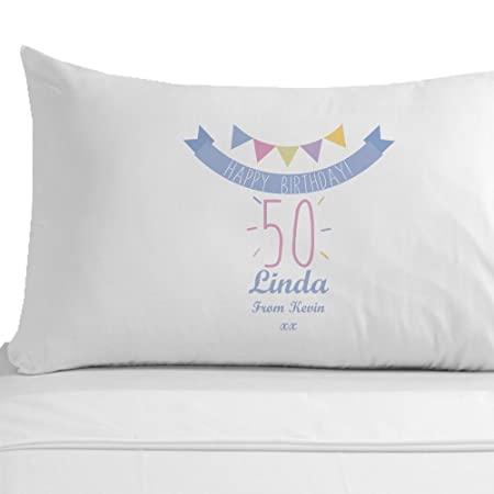 Personalised Happy 50th Birthday Pillowcase Female Gifts Presents For Her Amazoncouk Kitchen Home