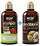 Beauty : WOW Apple Cider Vinegar Shampoo & Hair Conditioner Set - (2 x 16.9 Fl Oz / 500mL) - Increase Gloss, Hydration, Shine - Reduce Itchy Scalp, Dandruff & Frizz - No Parabens or Sulfates - All Hair Types