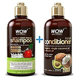 WOW Apple Cider Vinegar Shampoo & Hair Conditioner Set – (2 x 16.9 Fl Oz / 500mL) – Increase Gloss, Hydration, Shine – Reduce Itchy Scalp, Dandruff & Frizz – No Parabens or Sulfates – All Hair Types