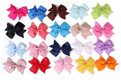 Shapenty 4 Inch Child Kids Grosgrain Ribbon Boutique Hair Bows Accessories DIY Handmade Hairbows with Alligator Clip for Baby Girl Teens Toddlers Newborn, 20 Colors, 20PCS