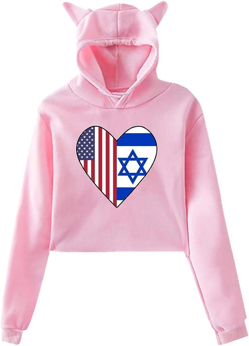Girls Short Hoodies Crop,Half Israel Flag Half USA Flag Love Heart Cat Ear Long Sleeve Pullover Tops Blouse