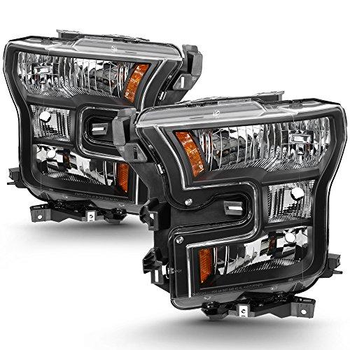 (For 2015 2016 2017 Ford F-150 F150 Factory Halogen Model Black Housing Headlight Lamp Set (Driver & Passenger Side))