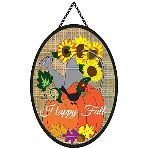 Cheap Happy Fall Sunflower Watering Can Burlap 13 x 18 Harvest Oval Ribbon Door Banner