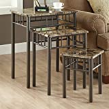 Monarch Specialties Bronze Metal Nesting Table Set with Cappuccino Marble Top, 3-Piece Review