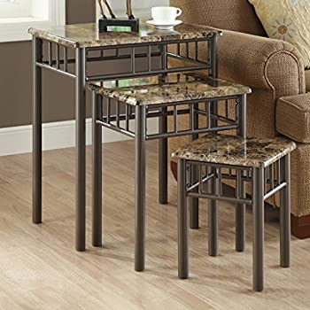 Monarch Specialties Bronze Metal Nesting Table Set With Cappuccino Marble  Top, 3 Piece