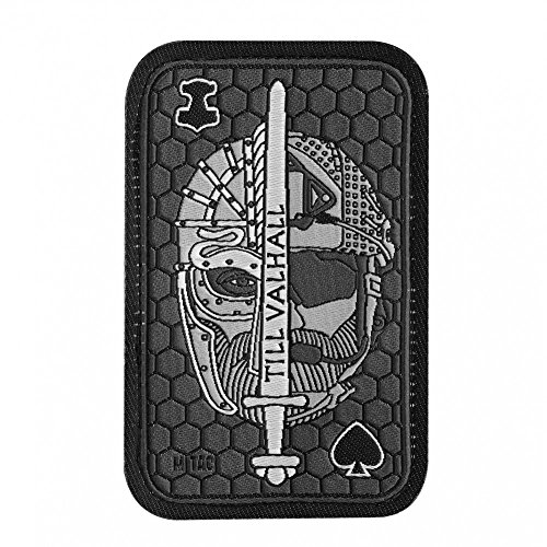 Til Valhall Morale Patch Embroidered Viking and USMC Helmets for Tactical Operator Cap with hook fasteners (Gray) -