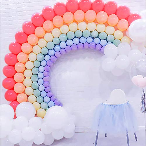 (Pastel Latex Balloons Rainbow 252pcs Assorted Rainbow Colors Macaron Balloons for Wedding Girls Birthday Baby Shower Engagement Bridal Shower Unicorn Party)