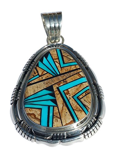 - Skyway Handmade Collectible Picture Jasper Pendant Inlaid w/Stabilized Turquoise & Onyx Native American Jewelry
