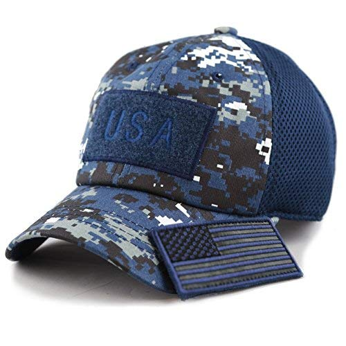 - THE HAT DEPOT Low Profile Tactical Operator with USA Flag Patch Buckle Cotton Cap (USA- Blue Digi Camo)
