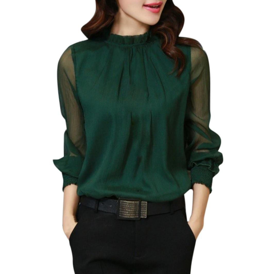 WM&MW New Women Blouse Chiffon Elegant Loose Ruffles Stand Neck Long Sleeve Office Shirt Tops (Green, L) by WM&MW