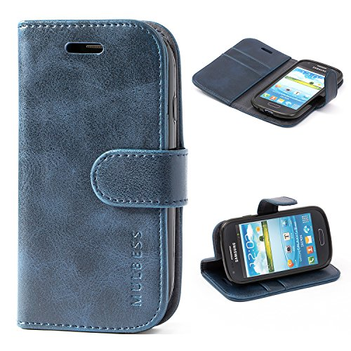 Samsung Galaxy S3 mini Case,Mulbess Leather Case, Flip Folio Book Case, Money Pouch Wallet Cover with Kick Stand for Samsung Galaxy S3 mini,Dark Blue