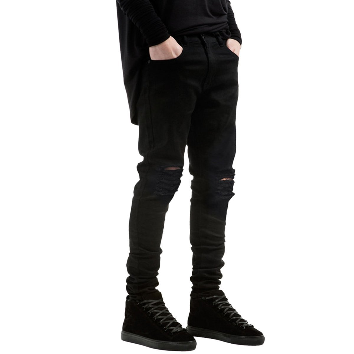 TOPING Fine Fashion;Handsome Men's Ripped Jeans Vintage Fitted Stretchy Tapered Leg Destroyed Jeans BlackTagsize32=USsize33