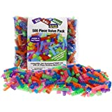 """Building Bricks - 500 Pc """"Big Bag of Bricks"""" Bulk Glow in the Dark and Neon-colored Blocks with 27 Roof Pieces - Tight Fit with All Major Brands"""