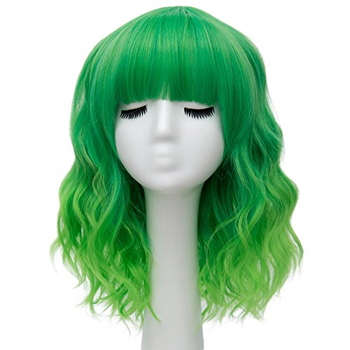 Alacos Fashion 35cm Short Curly Bob Anime Cosplay Wig Daily Party Christmas Halloween Synthetic Heat Resistant Wig for Women +Free Wig Cap (Bright Green Ombre) -