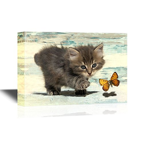 wall26 – Cats Canvas Wall Art – Little Kitten Chasing a Butterfly – Gallery Wrap Modern Home Decor Ready to Hang – 32×48 inches