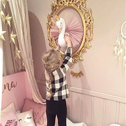 Hiltow Cute Crown Small Swan-Shaped Gauze Dress Wall Hanging Ornament Kids Room Decor(Pink