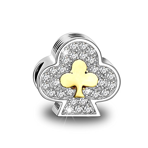 Long Way 925 Sterling Silver Love Heart Poker Ace Design Cubic Zirconia (Poker Lucky Charms)