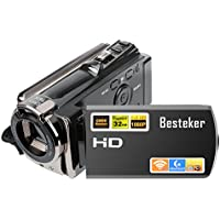 Video camera Camcorder,Besteker HD 1080P IR Night Vision Video Recorder with 24.0 MP WIFI Digital Camcorders and 3.0 Rotation Screen
