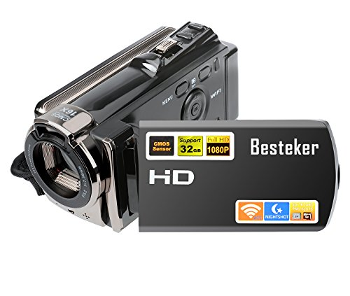 Video camera Camcorder,Besteker HD 1080P IR Night Vision Video Recorder with 20.0 MP WIFI Digital Camcorders and 3.0 Rotation Screen by Besteker