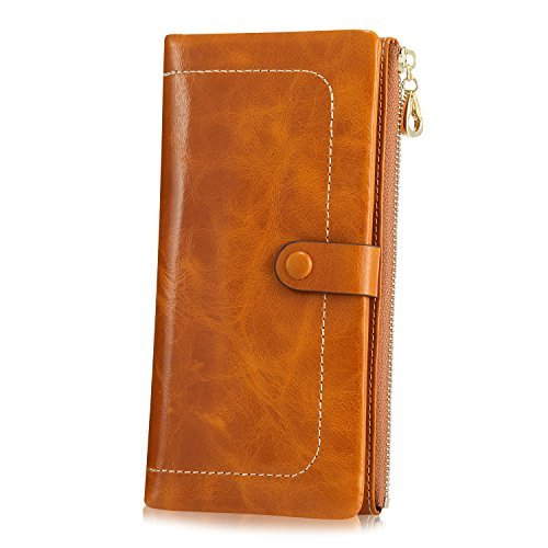 Kattee Womens Fashion Real Leather Zipper Wallet Card Bag Coin Case Phone Holder Brown