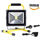 CDC 30W 3600LM LED Portable Rechargeable Work Light/ Flood Light/ Security Lights/ Work Shop Lights/ Outdoor Lighting and Emergency Light, Adapter and Car Charger Included, Waterproof