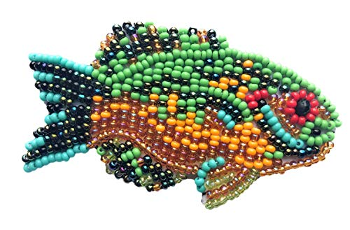 (Mayan Arts Beaded Fish Collection, with pin Attached, Small Figurine, Brooch, Handmade in Guatemala 2.75