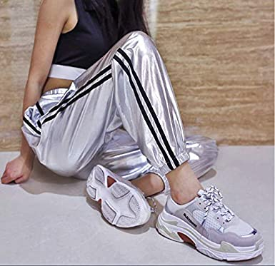 Greetuny Pantalones Raya Mujer Cl/ásico Chandal Casual Jogging Moda Cuero Brillante Pantalones Chandal Mujer Tiro Alto Personalidad Adolescente Pantalones Anchos Hip Hop Mujer