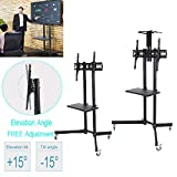 Mobile TV Stand-Adjustable Mobile TV Display for 32-65 inch LCD/LED Flat Panel Screen Floor Stand Height Adjustable Mount with Wheels Practical Office Home (Practical Version)
