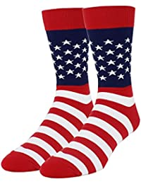 Mens Novelty Cool Combed Cotton Funny Dress Crew Socks