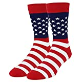 Happypop Men's Red White Stripes Dress American Flag Crew Cotton Socks