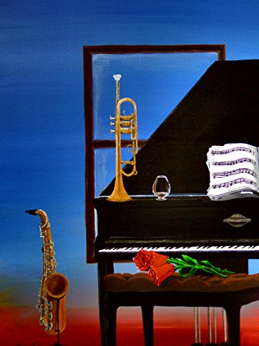 I Become The Jazz-acrylic painting of musical instruments,piano-original artist signed (unframed)