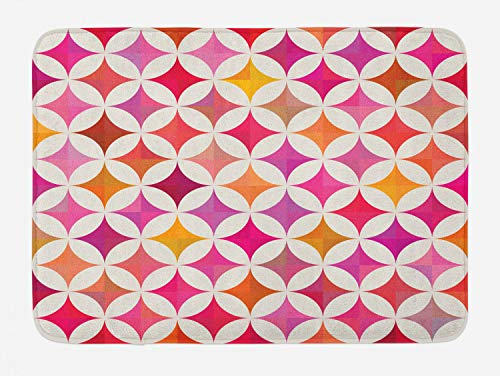 Ambesonne Colorful Bath Mat, Vibrant Overlapping Semi Circles Stars Quilt Tiling Pattern Symmetrical Mosaic, Plush Bathroom Decor Mat with Non Slip Backing, 29.5 W X 17.5 L Inches, Multicolor