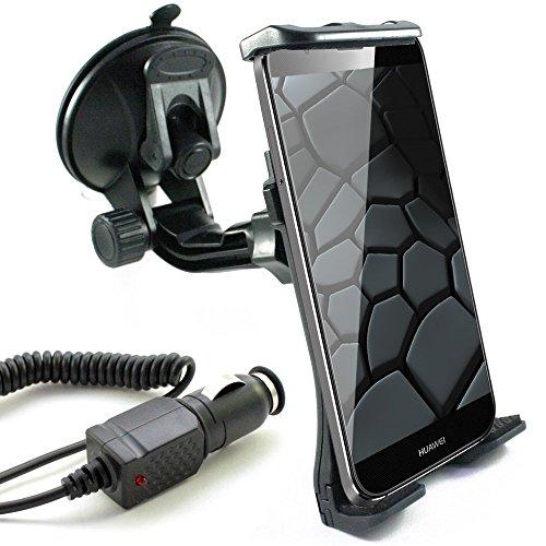 KFZ Set für HUAWEI Mate 8 / Mate S / P8 / P8 Lite / Y3 / Y625 / Mate 7 / Ascend G7 P7 G620s mini Y550 P6 G730 Y330 Y530 G630 G6 Y300 / KFZ Halterung für die Windschutzscheibe inkl. Auto Ladekabel in schwarz